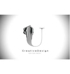 U letter design brush paint stroke black u letter vector