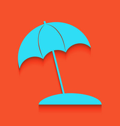 Umbrella and sun lounger sign whitish vector