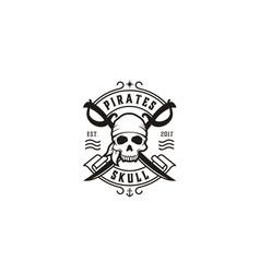 Vintage pirates skull crossing swords emblem logo vector