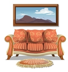 Vintage sofa with soft rug and picture vector image
