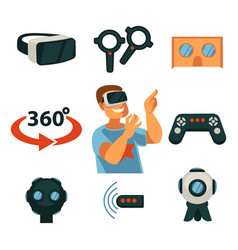 Virtual reality or vr gaming devices gadgets vector