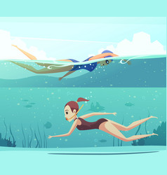 water sports banners set vector image