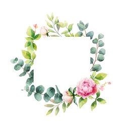 Watercolor hand painting wreath of peony vector