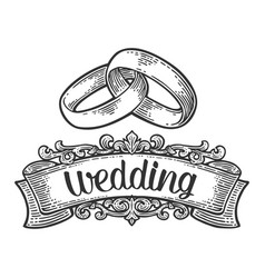 wedding rings vintage black engraving vector image