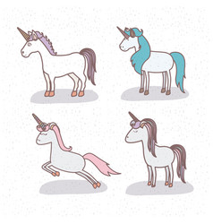 white background with set of unicorns vector image
