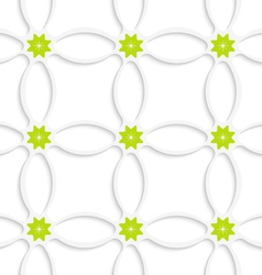 White ornament net and green flowers vector