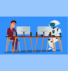 working robot vs tired businessman working on vector image