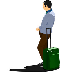 Young man with suitcase waiting the train vector