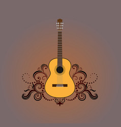 acoustic guitar with decorative ornament vector image