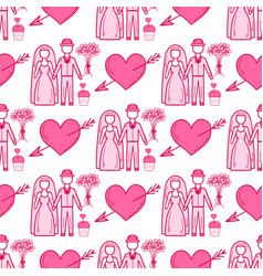 heart sharp wedding couple seamless pattern vector image