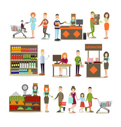 people making purchases flat icon set vector image vector image