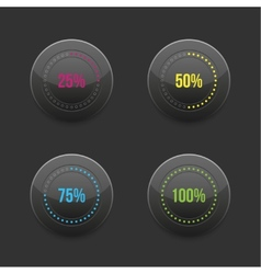 set of round progress bar element with vector image