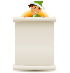 Christmas elf and gift list on parchment vector
