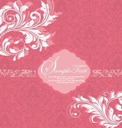 Damask invitation vintage card with floral element vector image vector image