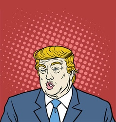Donald Trump Pop Art Caricature Portrait vector image