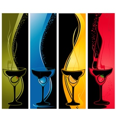 four cocktail banners vector image vector image