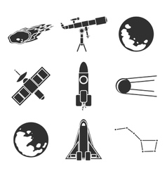 Icons of space and astronomy vector image