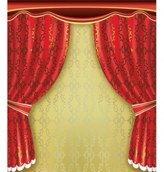 Luxury background Red curtain with golden pattern vector image vector image