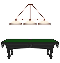 Pool table and lamp vector image vector image