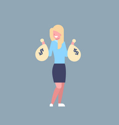 Business woman holding bags with money successful vector