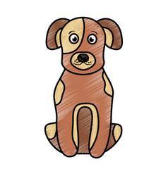 cartoon dog sitting pet animal vector image