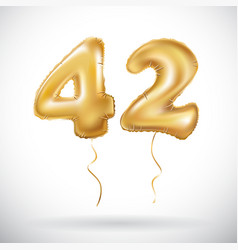 golden 42 number forty-two metallic balloon party vector image vector image
