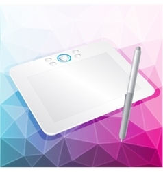 Graphics tablet with stylus vector