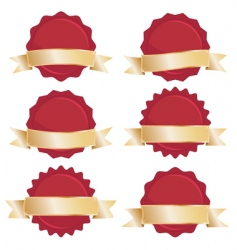 red seals with gold banners vector image