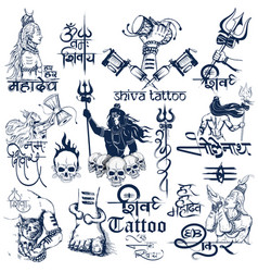 Tattoo art design of lord shiva collection vector