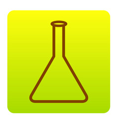 conical flask sign brown icon at green vector image