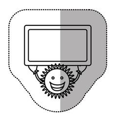 Contour sticker happy sun with blue board in the vector
