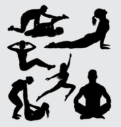 Fitness and yoga sport male and female silhouette vector