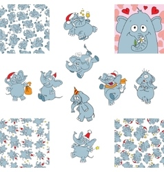 Funny elephants and seamless backgrounds vector image vector image