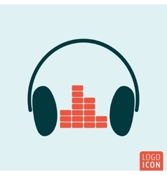 Headphones equalizer icon vector image vector image