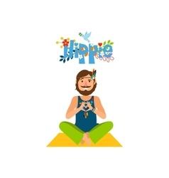 Hippie barefoot man sitting vector image