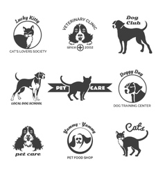 Pet club dog center veterinary clinic logos vector image