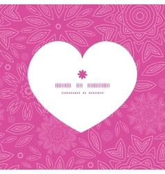 pink abstract flowers texture heart silhouette vector image