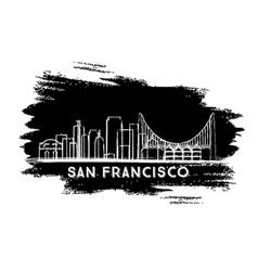 san francisco skyline silhouette hand drawn sketch vector image