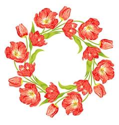 tulips wreath vector image vector image