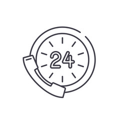 24 hour communication line icon concept 24 hour vector image