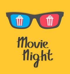 3d glasses popcorn box cinema icon pop corn movie vector image