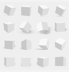 3d white cube set vector image