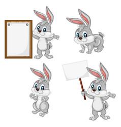 a happy rabbit set vector image