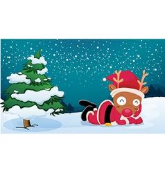 A reindeer near the pine tree wearing Santas dress vector image