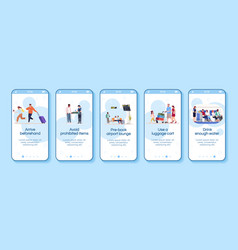 Airplane traveling advices onboarding mobile app vector