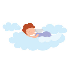 Angel sleeping on white background vector