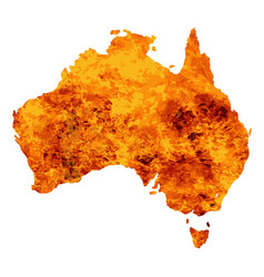 Australia map with flames background vector