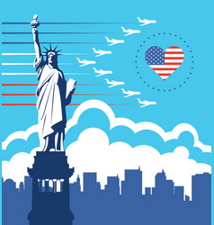 banner with statue liberty and flying planes vector image