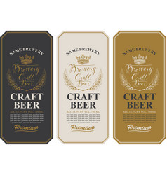 beer labels with wheat ears and inscriptions vector image