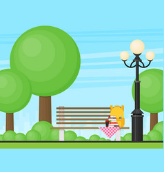 bench with cup bag and books in the park flat vector image